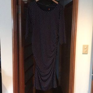 Maternity cotton polka dot dress (Navy)